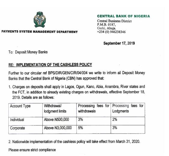 CBN's New Deposit/Withdrawal Charges 1