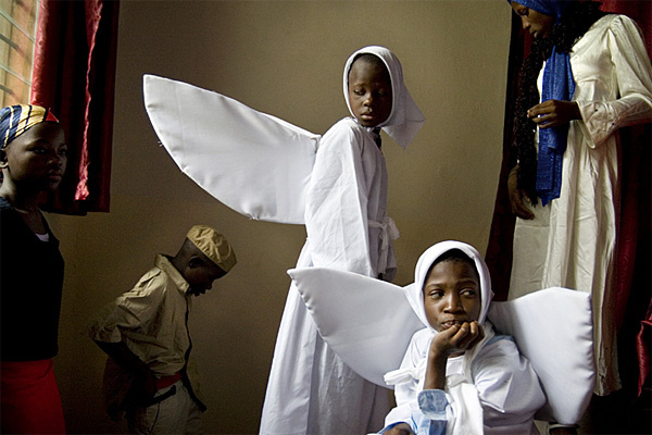 Children participating in plays about the birth of Jesus Christ