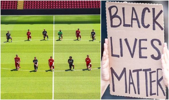 Liverpool Players Joins In Justice For Floyd Protest 2