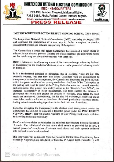 INEC Introduces Election Result Viewing Portal