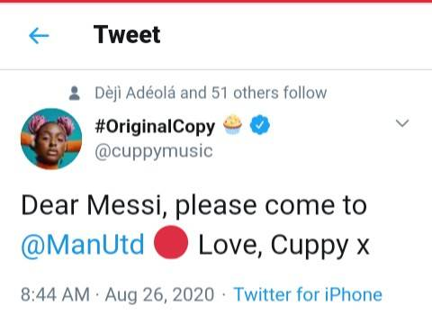 DJ Cuppy Begs Lionel Messi To Join Man United 1