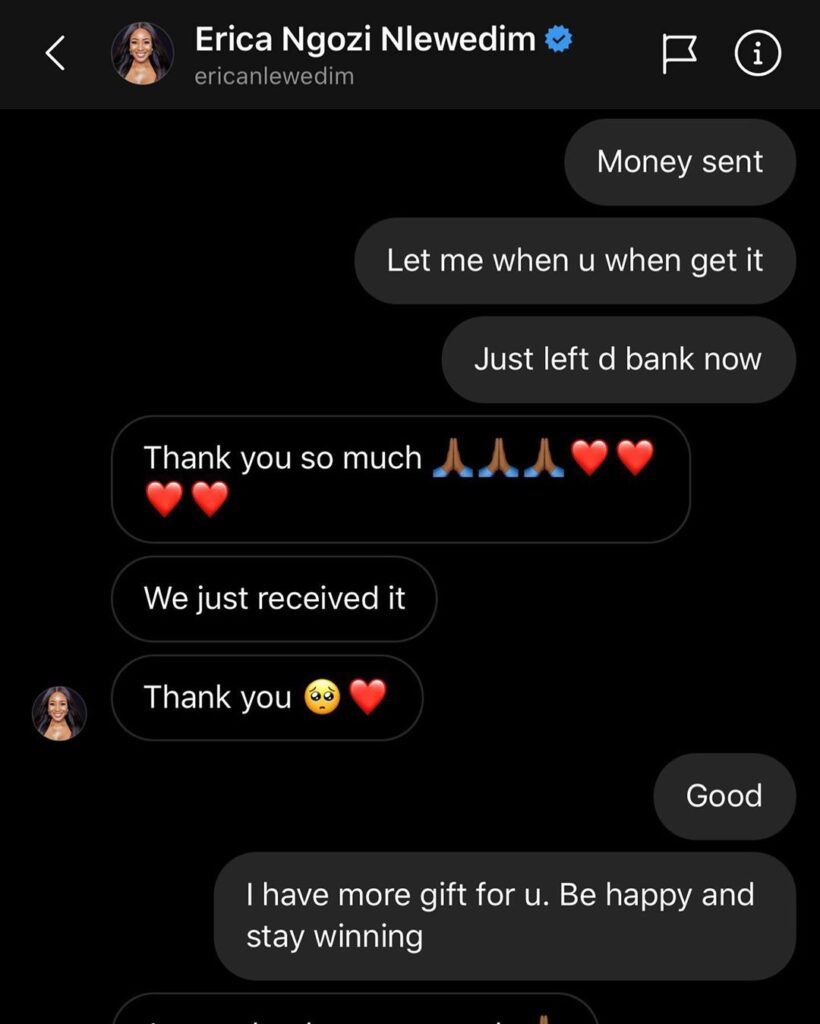 Screenshot of Erica receiving the one million naira cash gift from Bobrisky