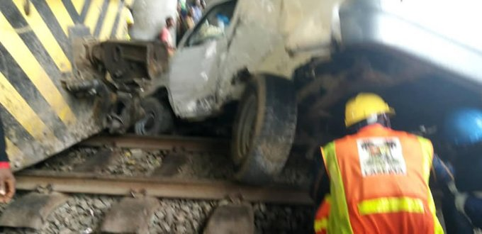 Bus Rams Into Moving Train In Lagos