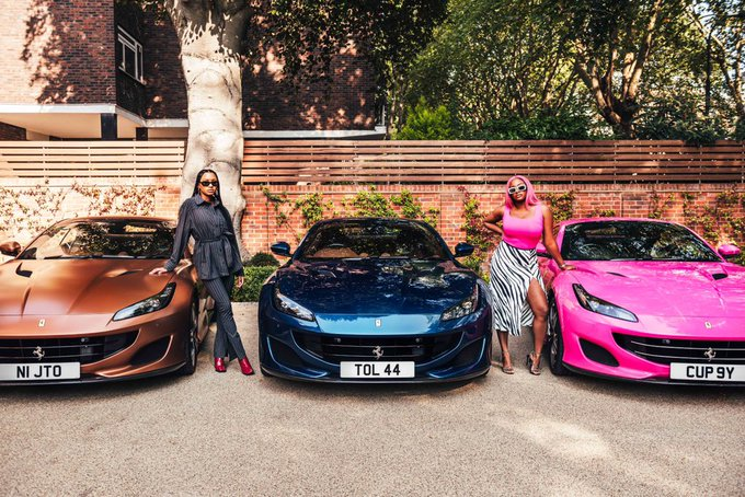 Temi Otedola & Cuppy flanked their customized Ferrari car while Tolani was absent