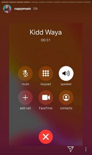 Cuppy's screenshot of call to Kiddwaya