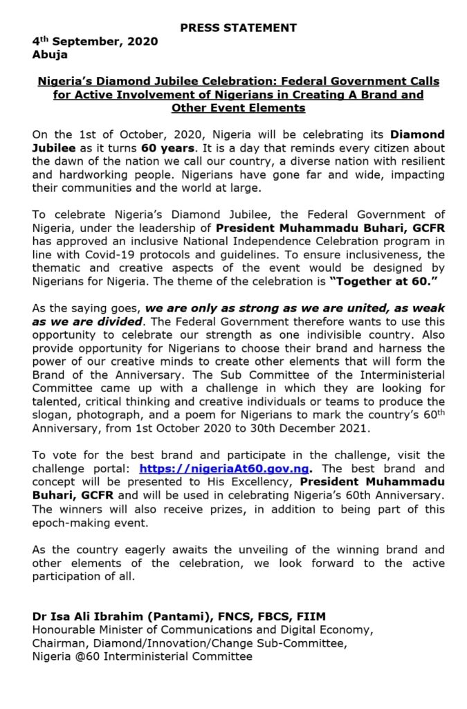 How To Apply For Branding Nigeria's 60th Anniversary 1