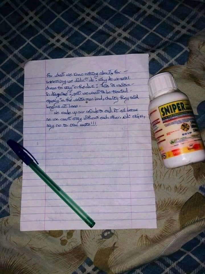 Young Lovers Commit Suicide In Anambra, Leaves Note (See Copy) 2