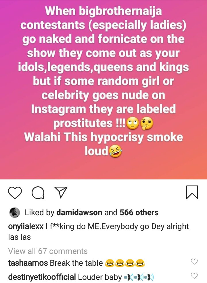 Actress, Onyi Alex Mocks People Who Worship BBNaija Contestants But Criticize Other Celebrities 1