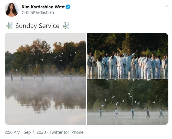 Kim Kardashian posted a snapshot of the 'walk on water' on Twitter.
