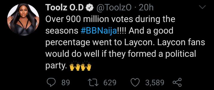 BBNaija 2020: OAP Likens Laycon's Fanbase To Political Party