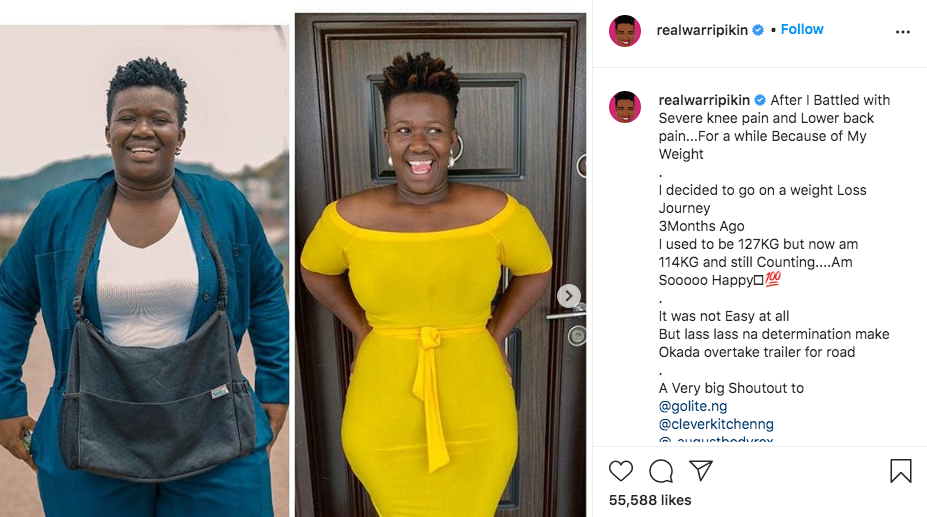 Comedienne, Real Warri Pikin Weight Loss Story