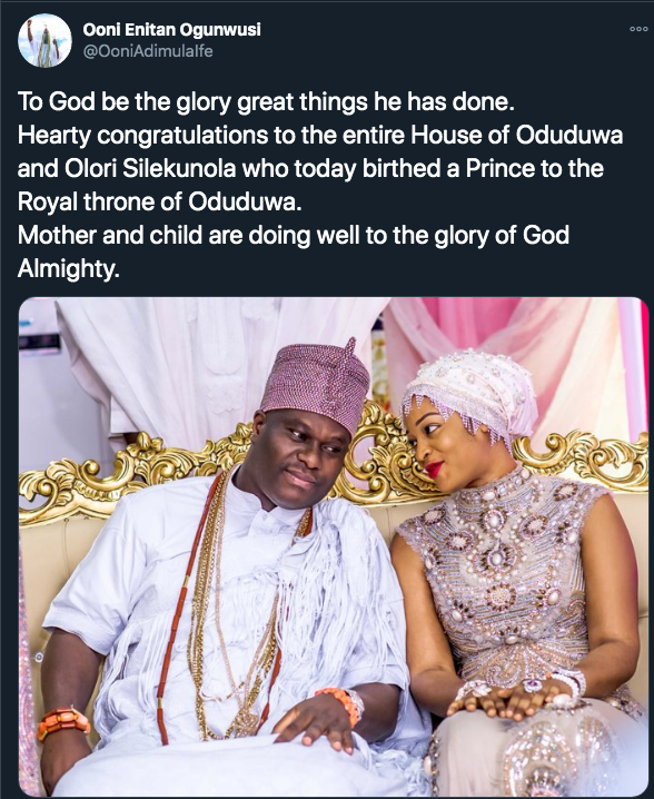 Ooni Of Ife Welcomes Second Child With Third Wife